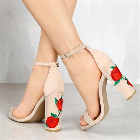 flower shoes with heels 2017 new flower printed high heel sandals