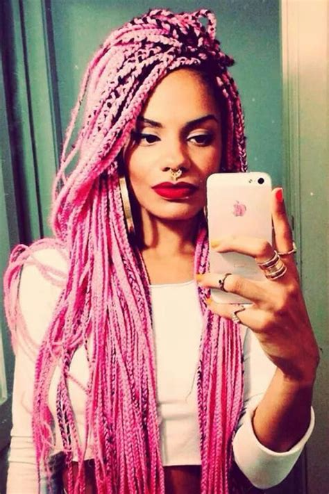 blonde pink black braids box braids in pink down to my butt i can hardly wait