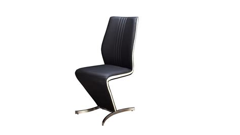 Black Faux Leather Dining Room Chairs Z Dining Chairs In Black Faux Leather White Stripe Homegenies