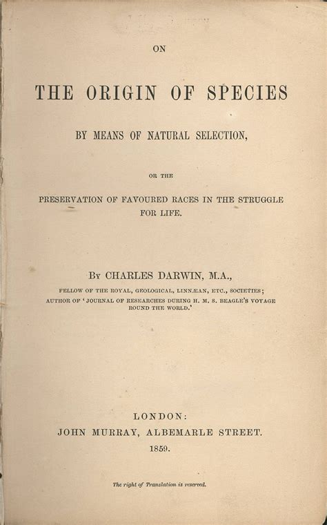 darwin c r 1859 on the origin of species by means of 1859 charles darwin publishes on the origin of species