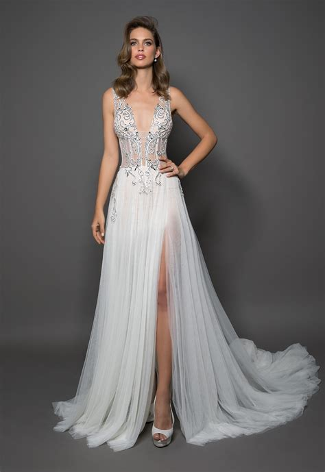 Sheath With V neck And Tulle Bottom Featuring A Slit