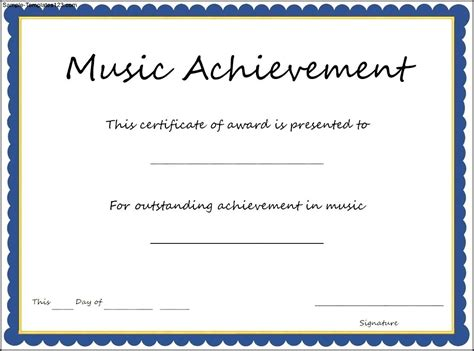 music achievement award certificate template sle