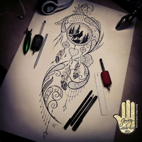 wolf and dreamcatcher tattoo designs catcher design howling wolf ideas