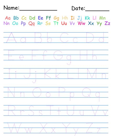 alphabet writing paper letter practice worksheets for kindergarten kindergarten