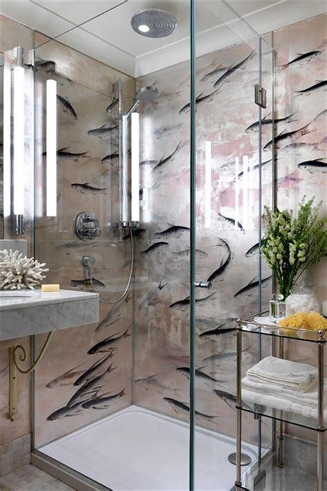 wallpaper designs for bathroom de gournay lucky fish wallpaper bathroom wallpaper