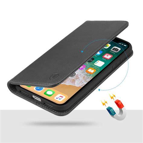 shieldon iphone  genuine leather wallet case black iphone  case  magnet closure flip