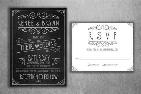 Printed Wedding Invitations Cheap by Affordable Wedding Invitations Set Printed Cheap Chalkboard