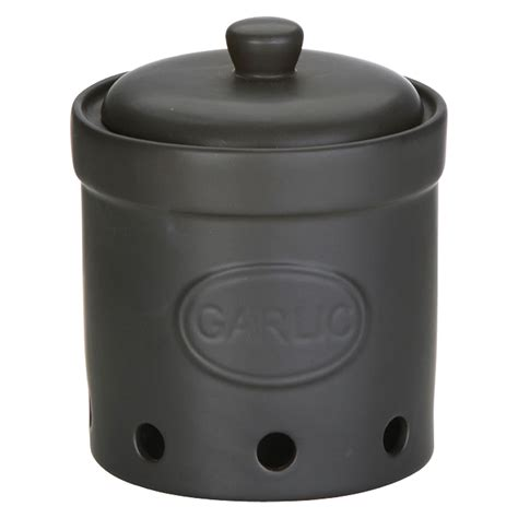 Storage Jar garlic storage jar matte black the drh collection