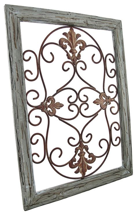 wrought iron and wood wall decor wrought iron fleur de lis wall decor in wooden frame