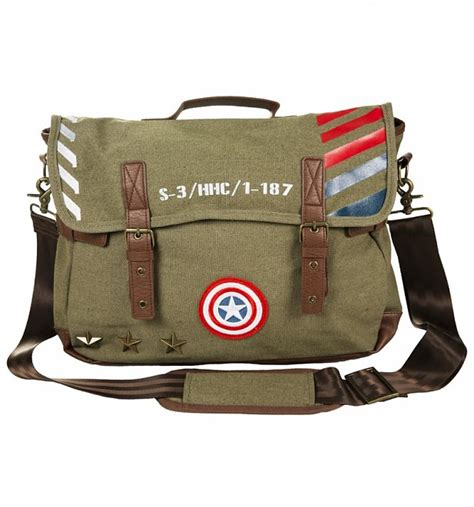 Captain America Vintage 14 vintage canvas captain america army messenger bag