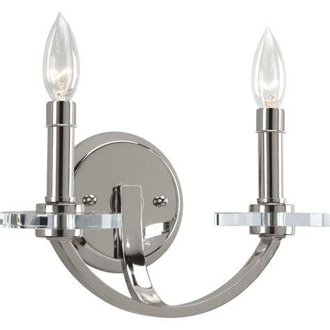 Polished Nickel Sconces by Progress Lighting Nisse Collection 2 Light Polished Nickel