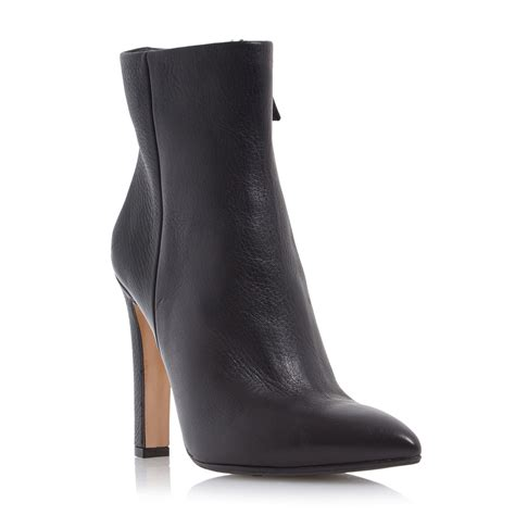 dune black ora leather pointed toe ankle boots in black