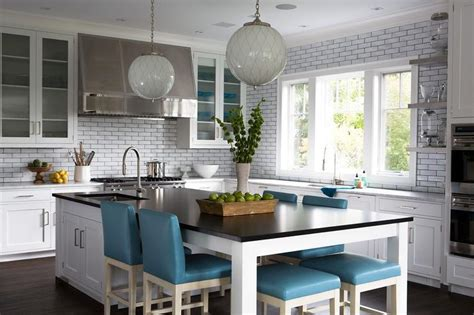 kitchen island dining long kitchen island as dining table with blue leather