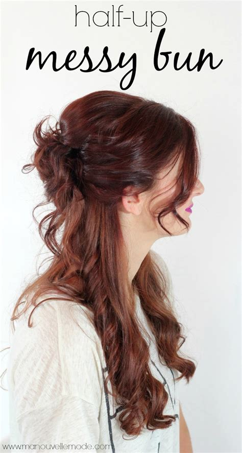 half messy bun 50 simple hairstyles for on the go moms