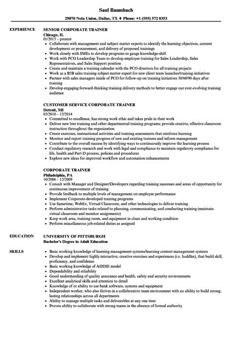 Corporate Trainer Resume by Corporate Trainer Resume Sles Velvet