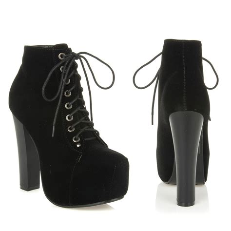 new womens high heel lace up platform ankle bootie