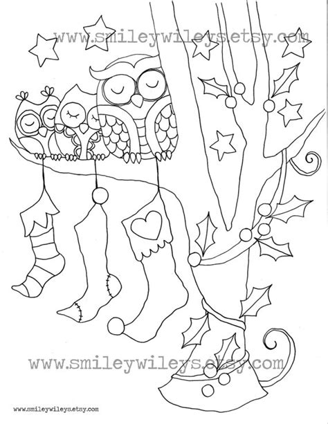holiday owl coloring page unavailable listing on etsy