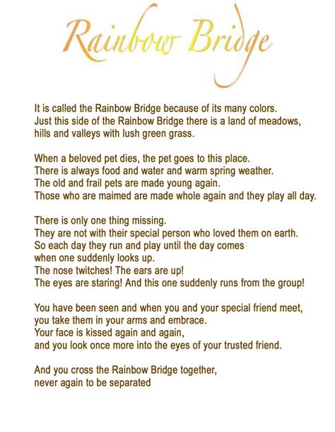 rainbow bridge poem rainbow bridge for pets from arkansas pet services