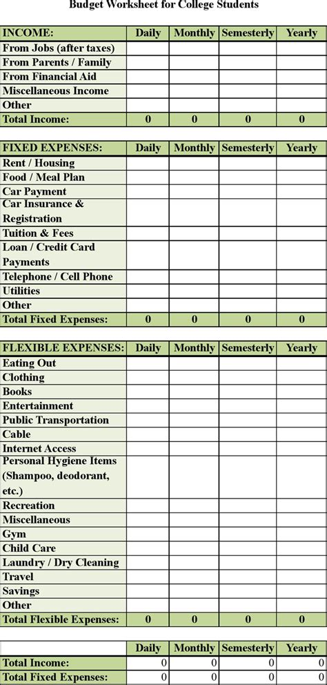 college student budget worksheet photos getadating