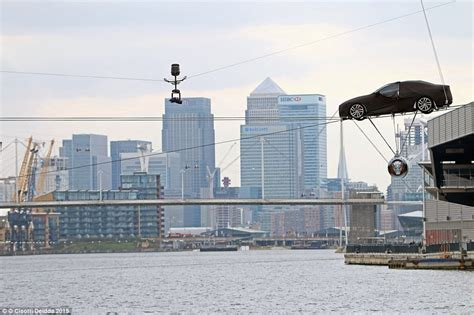 river thames jump stunt new jaguar xf rehearses the world s first high wire water
