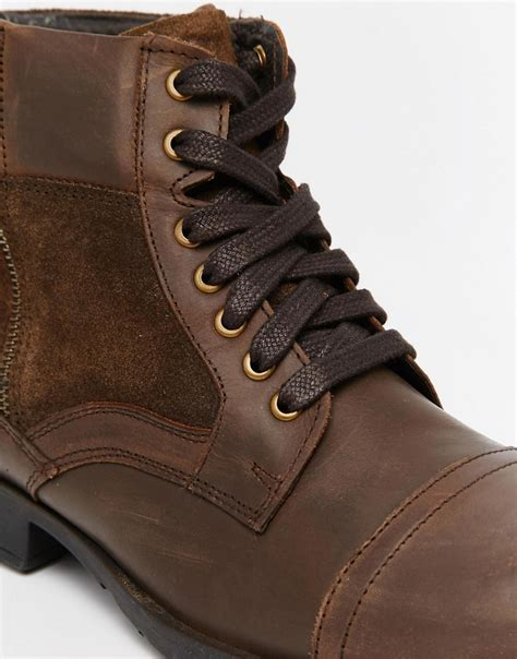 new look new look boot in brown leather at asos
