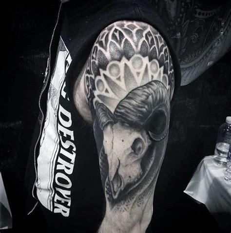 geometric goat tattoo 50 goat skull tattoo designs for men manly ink ideas