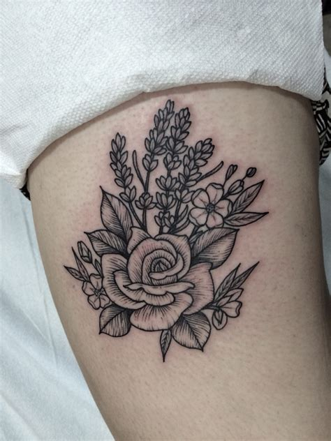 flower tattoo rose woodcut of and lavender by lawes
