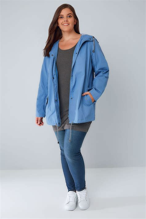 Hooded Cotton Parka blue hooded cotton parka jacket with stripe lining plus