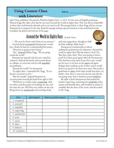 Context Clues Worksheets 6th Grade by Using Context Clues With Literature Middle School Worksheets