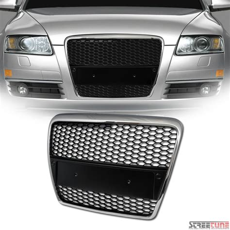 Audi A6 C6 Front Grill by Chrome Black Rs Style Honeycomb Mesh Bumper Grill