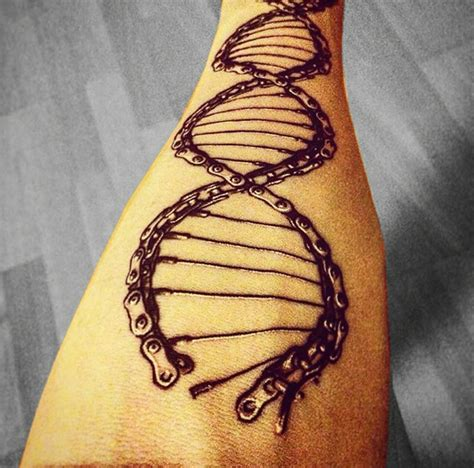 bike tattoos design dna chain helix design tattoos chains