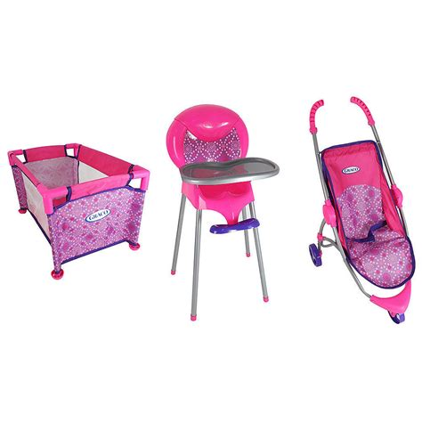 Baby Doll Stroller Crib And Highchair by Graco Room Of Baby Doll Playset Ebay