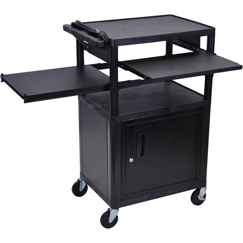 luxor cart with locking cabinet luxor lp42clpe b presentation cart with locking lp42clpe b b h