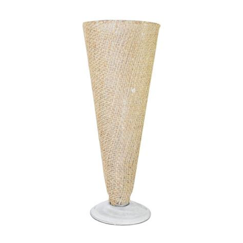 10.5 Burlap Wrapped Glass Pilsner Vase [SK23506 Bulk