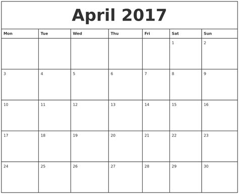 Calendar 2017 Monthly Printable April 2017 Printable Monthly Calendar