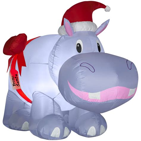 trim a home 174 4ft inflatable lighted hippo outdoor