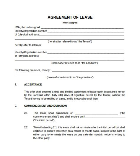 blank lease agreements 7 sle blank lease agreements sle templates