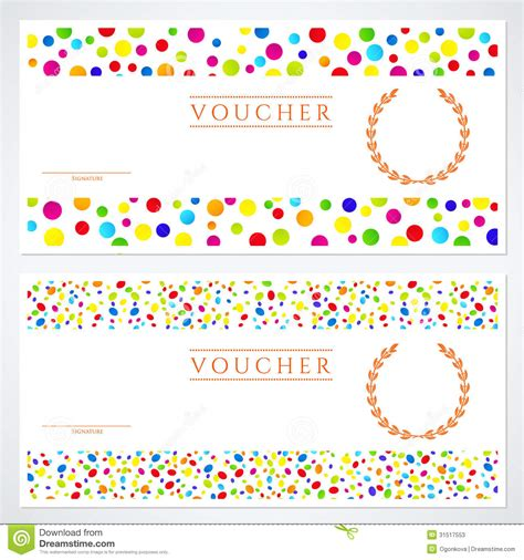 Colorful Gift Certificate (Voucher) Template Stock Vector