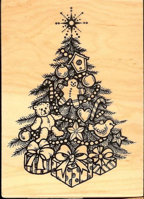 inkadinkado decorated christmas tree quot rubber stamp wood
