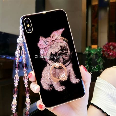 glitter powder doggie tpu pc w ring holder for iphone x chicleader