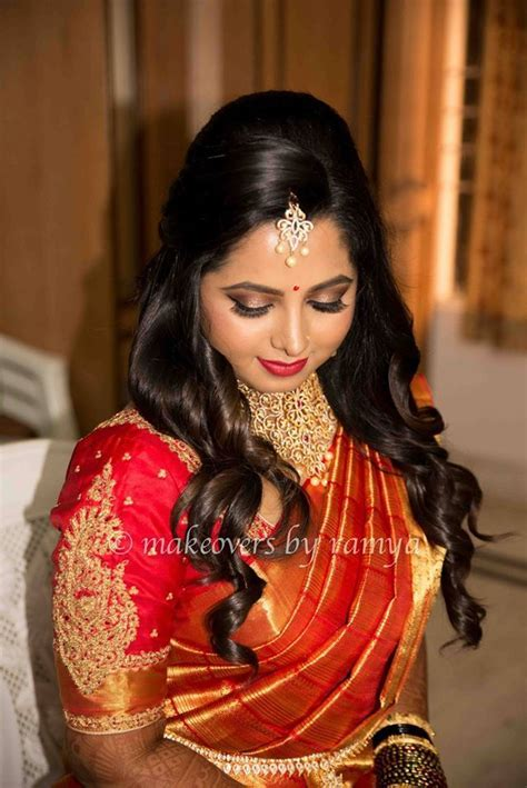 south indian bride reception hairstyle #south #indian #