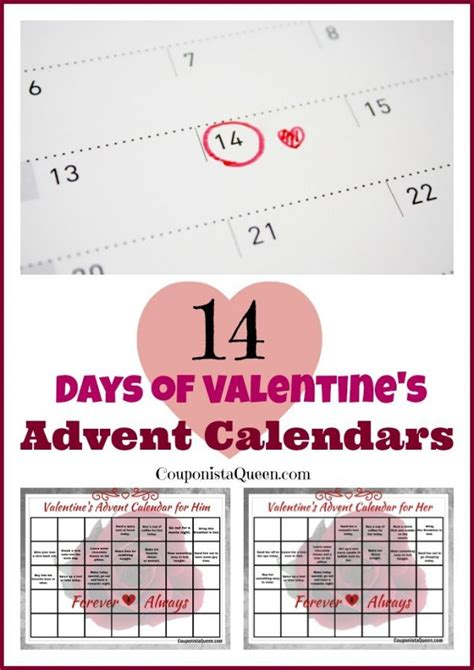 printable advent calendar coupons printable just for you 14 days of valentine s calendars