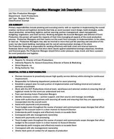 Production Description by Sle Production Manager Description 10 Exles
