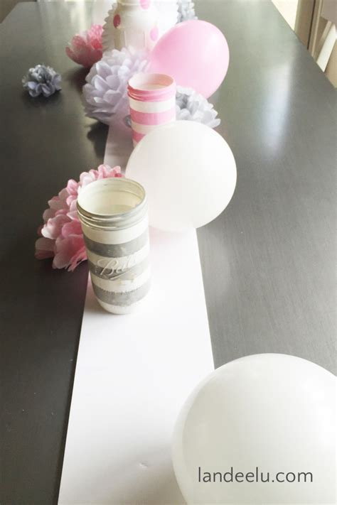 Pink And Gray Baby Shower Table Decorations by Pink And Grey Baby Shower Landeelu