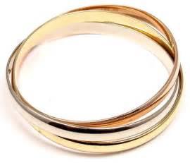 cartier rolling tri colored gold bangle bracelet