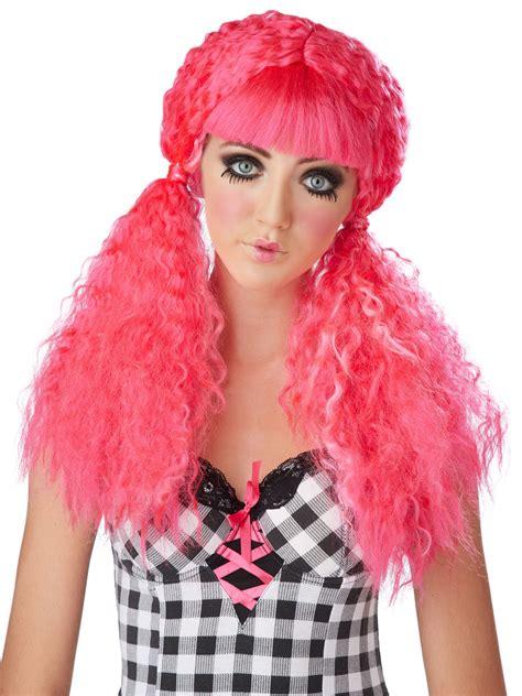 rag doll wigs pink crimped doll wig 70730 fancy dress