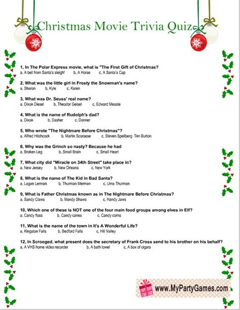 Film Quiz Worksheet | free printable christmas movie trivia quiz worksheet