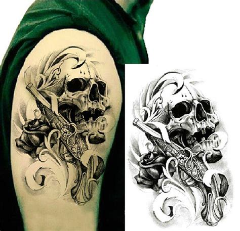 single gun skull tattoo 3d waterproof temporary tattoo