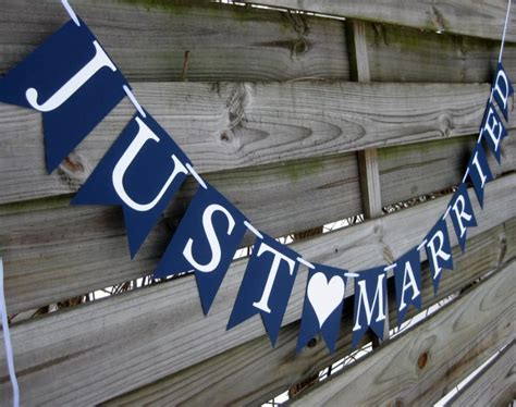 Nautical Wedding Banner by Just Married Wedding Banner Wedding Sign In Navy Blue