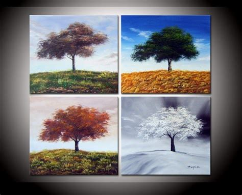 Painting 4 Seasons by Painted Four Seasons Top Tree Wall Decoration